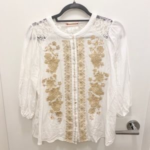 Lace and stitch blouse M